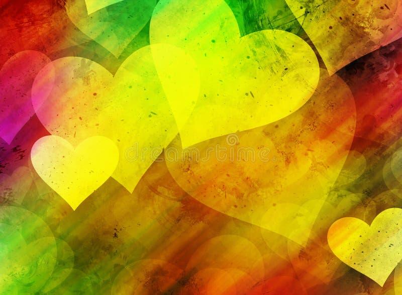 Fundo colorido do bokeh dos corações ilustração royalty free