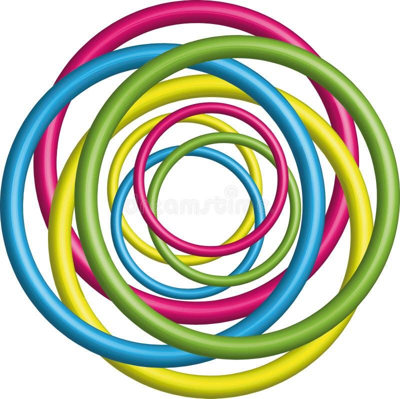 Fundo colorido do círculo 3d ilustração stock