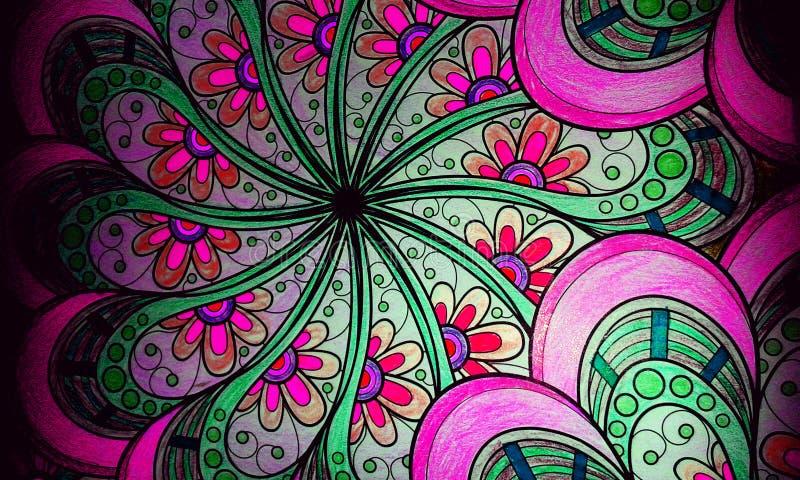 Fundo colorido do estilo da mandala ilustração royalty free
