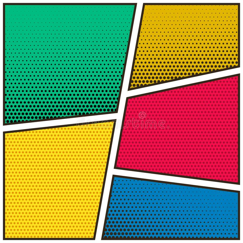 Fundo colorido do molde da página vazia da banda desenhada cinco ilustração stock