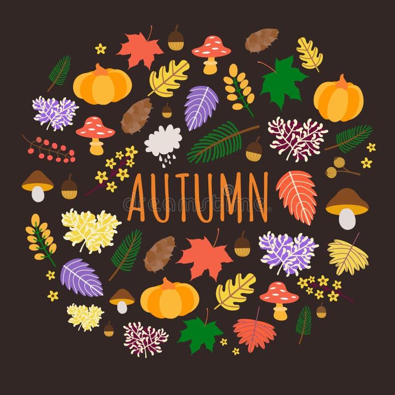 Fundo colorido do outono com folhas, abóboras e cogumelos ilustração do vetor