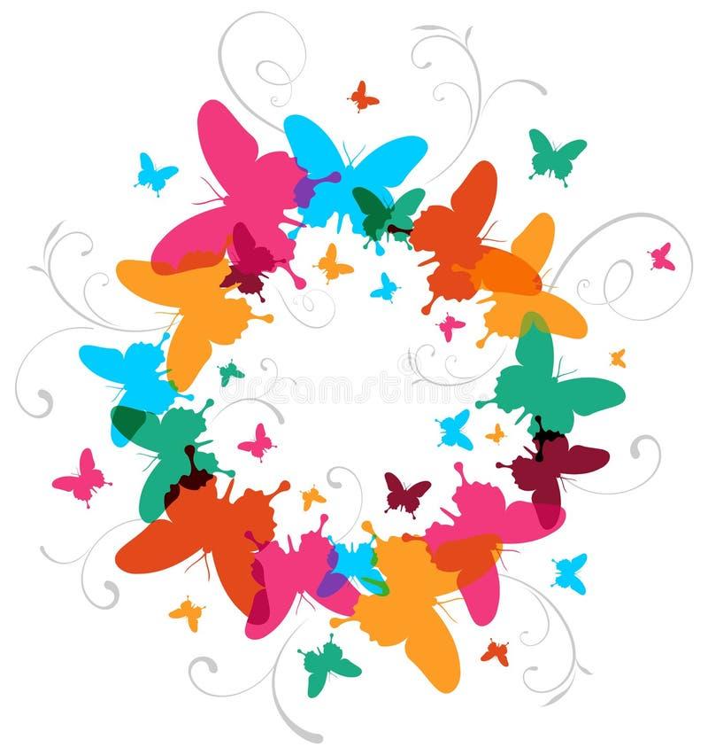 Fundo colorido do projeto da borboleta da mola ilustração stock