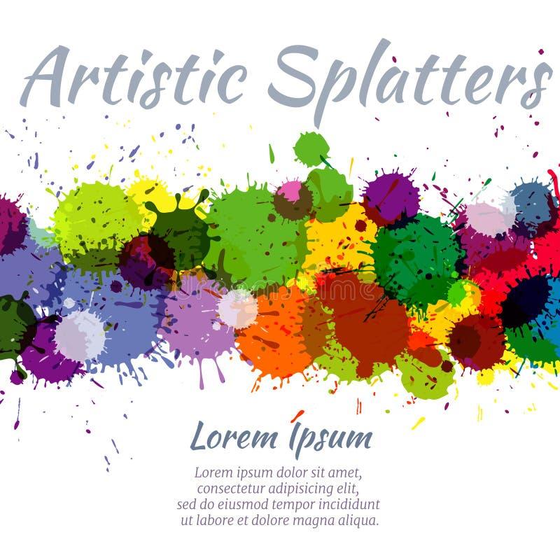 Fundo colorido do respingo do vetor da arte abstrato das manchas da pintura da aquarela ilustração do vetor