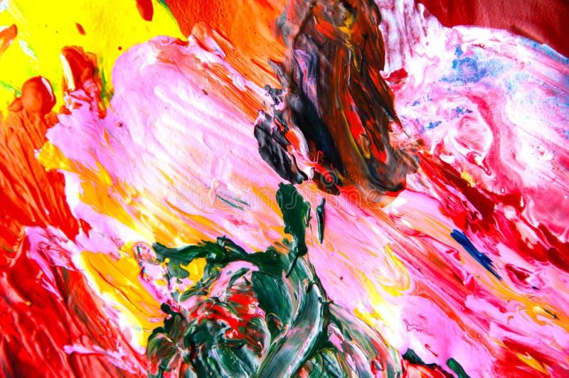 Fundo colorido do sumário do close up das pinturas de óleo de cima de imagens de stock