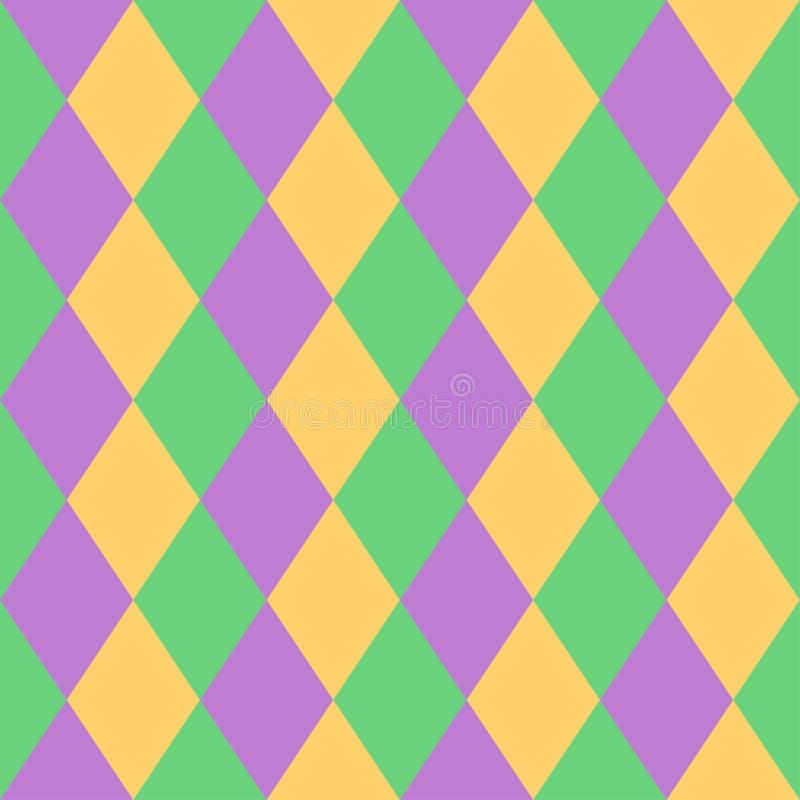 Fundo colorido do teste padrão da celebração geométrica abstrata sem emenda de Mardi Gras Ilustração do vetor para a bandeira, có ilustração do vetor