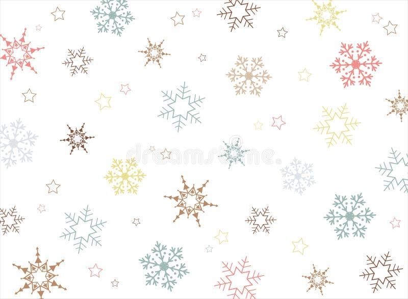 Fundo colorido do teste padrão do floco de neve do Natal ilustração royalty free
