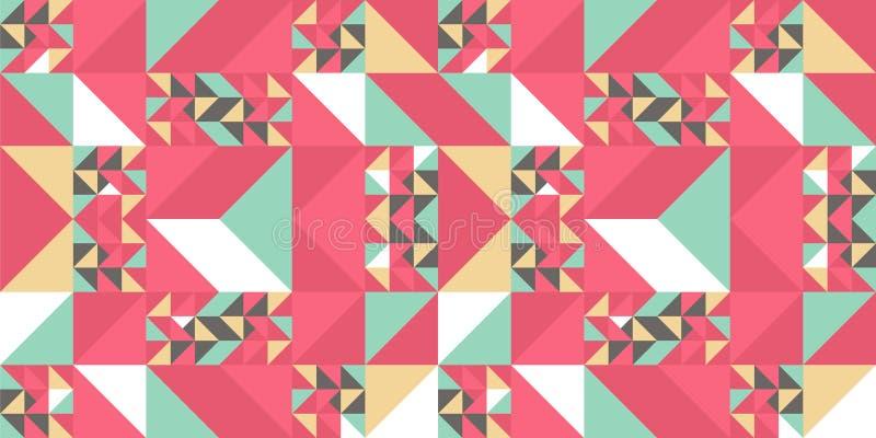 Fundo colorido do teste padrão do triângulo para a cópia de matéria têxtil da forma Bom para o descanso, o tapete, e a tampa gera ilustração stock