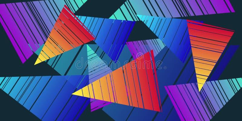 Fundo colorido dos anos 80 dos triângulos ilustração stock