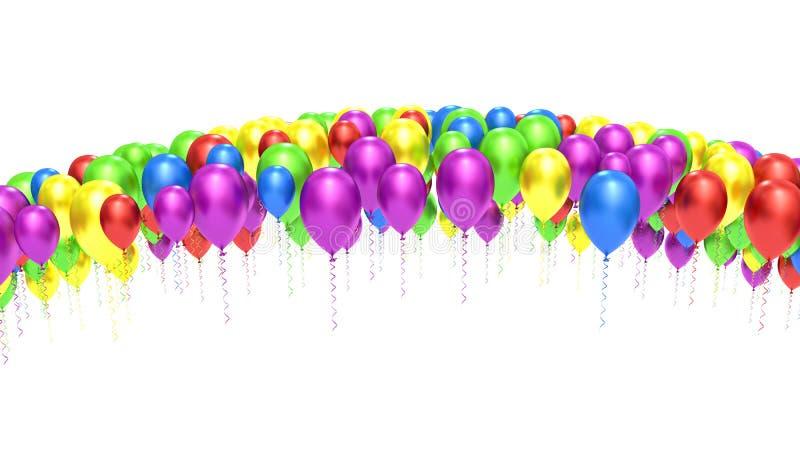 Fundo colorido dos balões isolado no branco ilustração do vetor