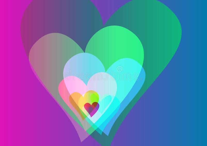 Fundo colorido dos corações imagens de stock royalty free