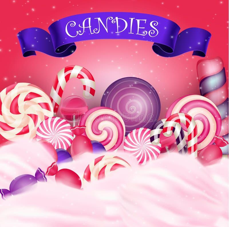Fundo colorido dos doces com a fita azul realística ilustração do vetor