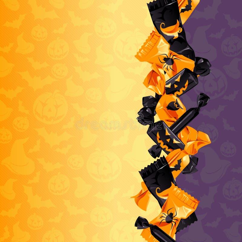 Fundo colorido dos doces de Halloween ilustração stock