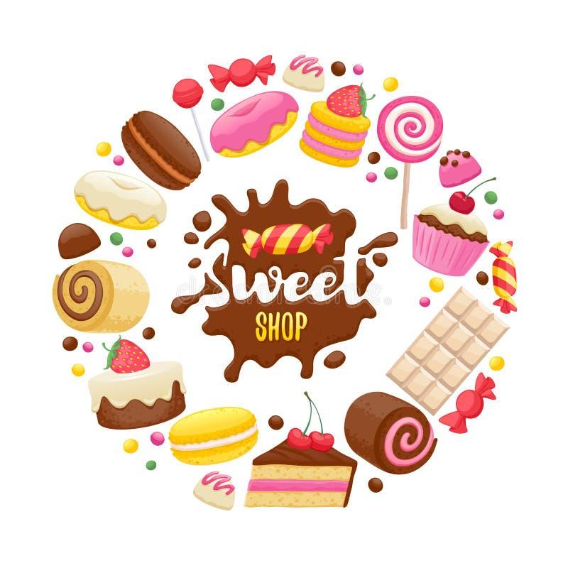 Fundo colorido dos doces sortidos ilustração stock