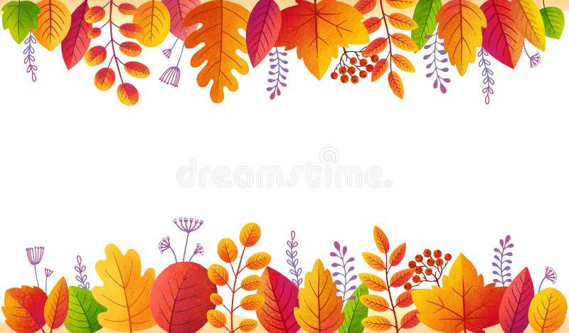 Fundo colorido dourado do cartaz do vetor das folhas de outono Quadro lateral da folhagem de outono brilhante isolado no fundo br ilustração do vetor
