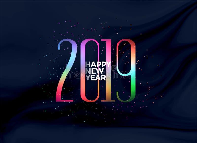 Fundo colorido elegante do ano 2019 novo feliz ilustração do vetor