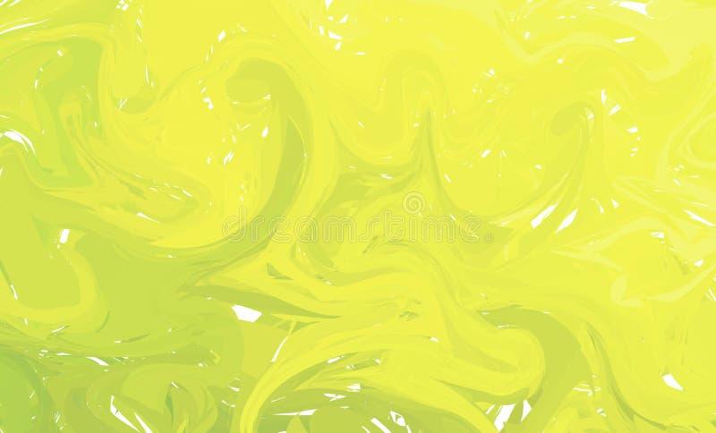 Fundo colorido fluido das formas Inclinações na moda verdes e amarelos O líquido dá forma à composição Mármore líquido moderno ab ilustração royalty free