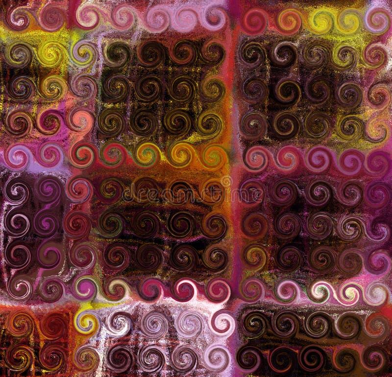 Fundo colorido listrado e quadriculado do grunge do sumário com fileiras de elementos do redemoinho ilustração do vetor