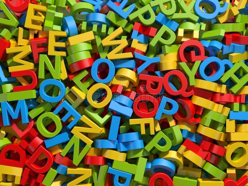 Fundo colorido misturado das letras ilustração do vetor