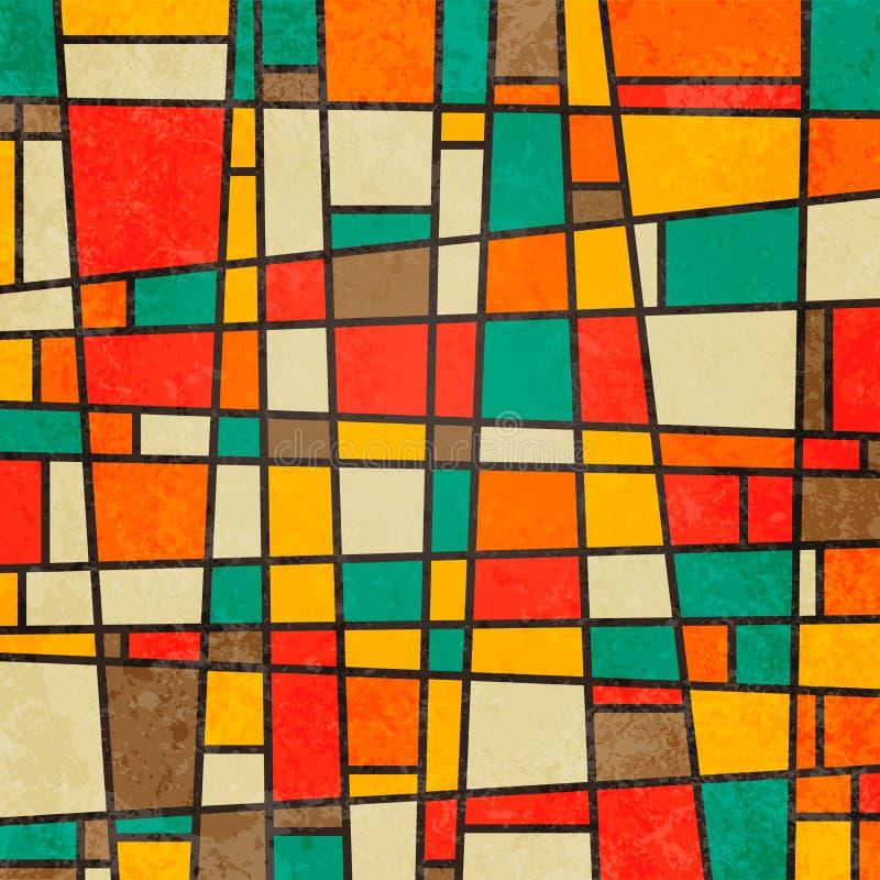 Fundo colorido retro geométrico abstrato ilustração royalty free