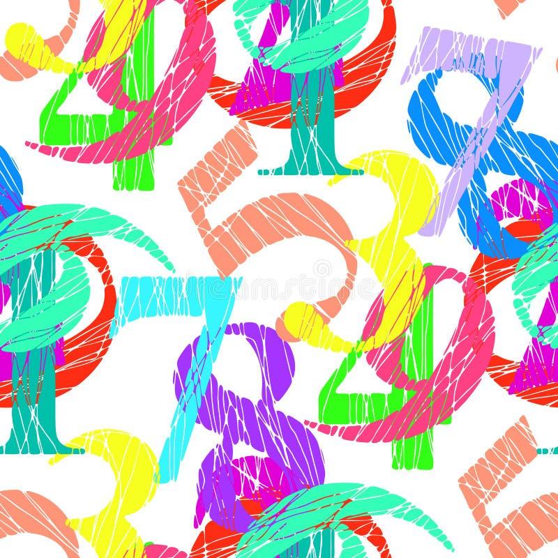 Fundo colorido sem emenda do teste padrão dos números ilustração royalty free