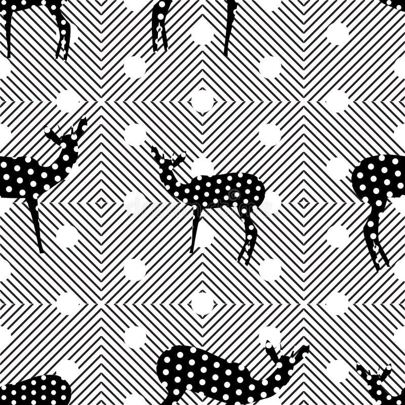 Fundo colorido sem emenda feito das linhas e da silhueta da formiga ilustração stock