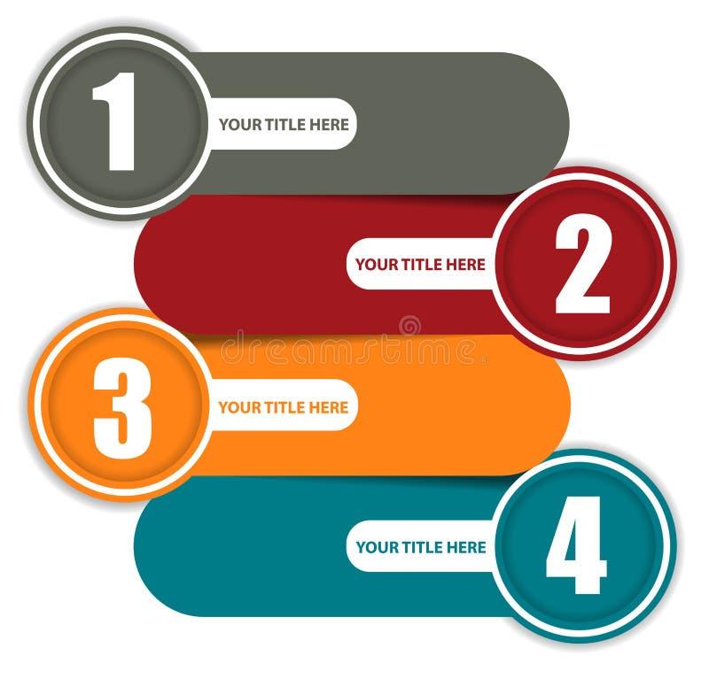 Fundo colorido simples com quatro etapas ilustração do vetor