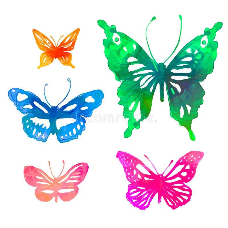 Fundo colorido surpreendente com borboletas, aquarelas (vect ilustração stock
