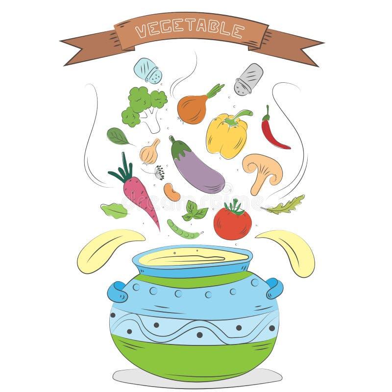 Fundo colorido tirado mão dos vegetais Coleção de cozimento criativa ilustração do vetor