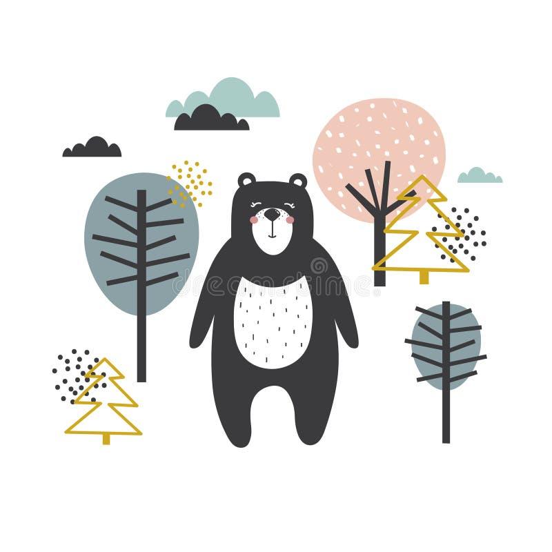 Fundo colorido, urso feliz e árvores Ilustração decorativa com animal, floresta ilustração royalty free