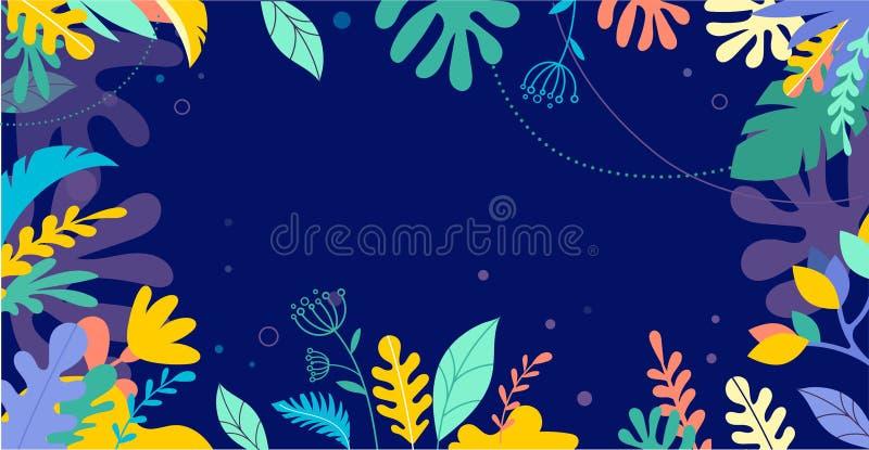 Fundo colorido, vibrante das folhas de palmeira das cores Ilustração tropical, folha da selva ilustração do vetor