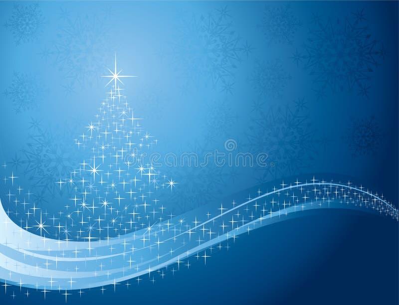Fundo com árvore e flocos de neve de Natal ilustração do vetor