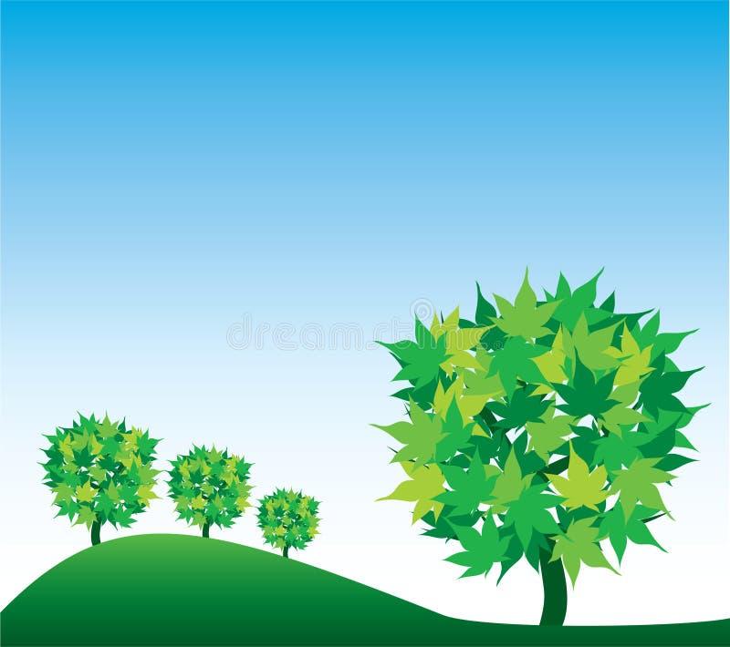 Fundo com árvores e céu ilustração royalty free