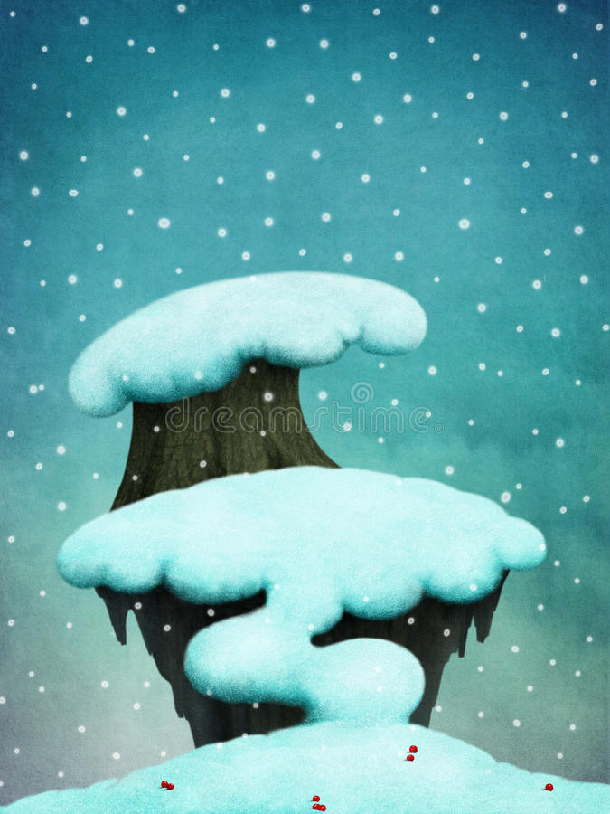 Fundo com árvores nevado ilustração royalty free