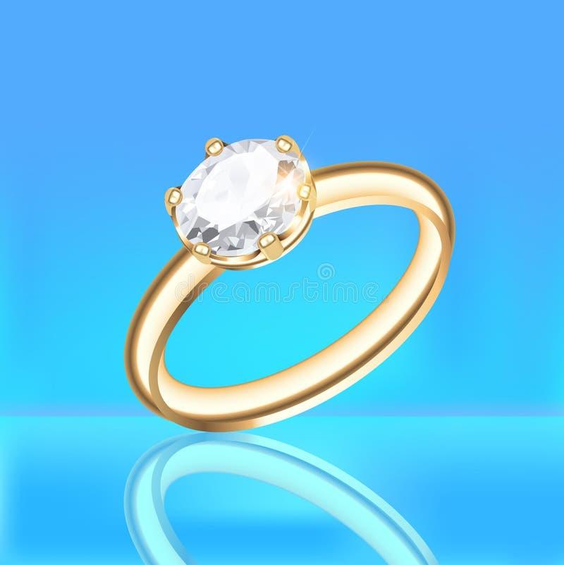 Fundo com anel de diamante dourado em um fundo azul ilustração royalty free
