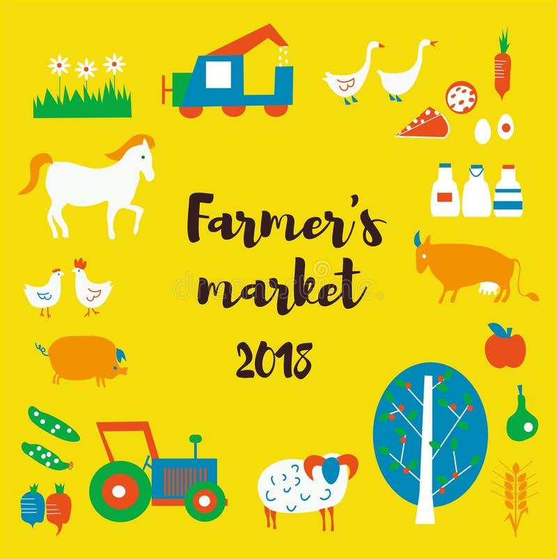 Fundo com animais, alimento do mercado do ` s do fazendeiro, tratores, estilo retro Ilustração do vetor ilustração do vetor