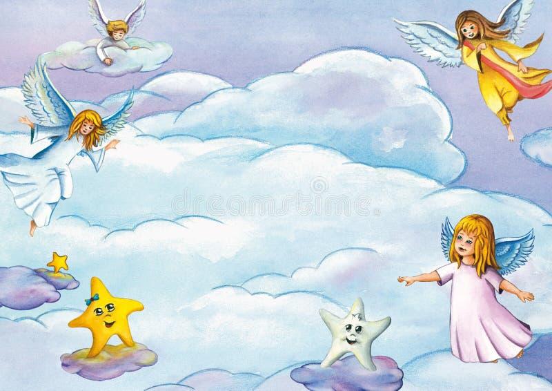 Fundo com anjos de voo bonitos, estrelas e nuvens Molde do cartão ou do convite ilustração royalty free
