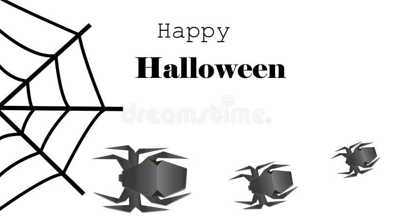 Fundo com aranhas do origâmi e rotulação feliz de Dia das Bruxas ilustração stock