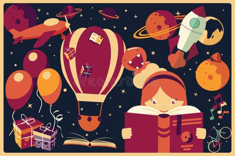 Fundo com artigos da imaginação e uma menina que lê um livro ilustração royalty free