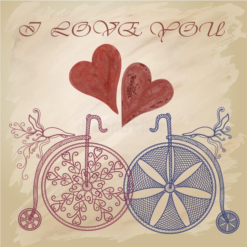 Fundo com as bicicletas no estilo do vintage Rosa vermelha Eu te amo ilustração royalty free