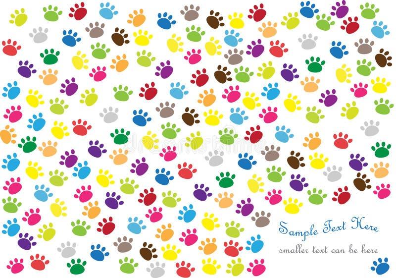 Fundo com as cópias da pata do gato ilustração stock