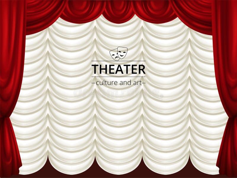 Fundo com as cortinas da fase, as vermelhas e as brancas do teatro A seda drapeja ilustração do vetor