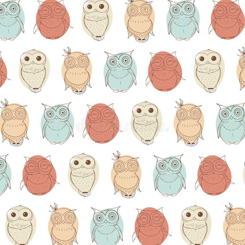 Fundo com as corujas pequenas diferentes Mão criativa textura tirada ilustração do vetor