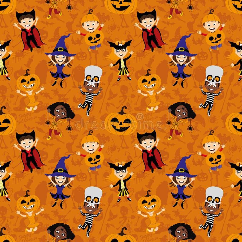 Fundo com as crianças nos trajes para o Dia das Bruxas ilustração stock