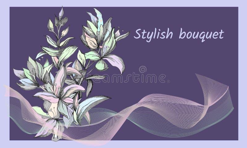 Fundo com as flores pintadas delicadas Quadro de texto refinado elegante Flores do contorno da mola Ilustração do vetor ilustração stock