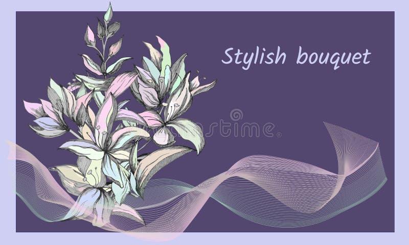 Fundo com as flores pintadas delicadas Quadro de texto refinado elegante Flores do contorno da mola Ilustra??o do vetor ilustração do vetor