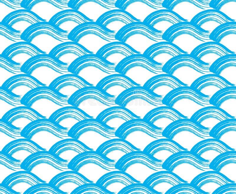 Fundo com as ondas do curso da escova ilustração stock