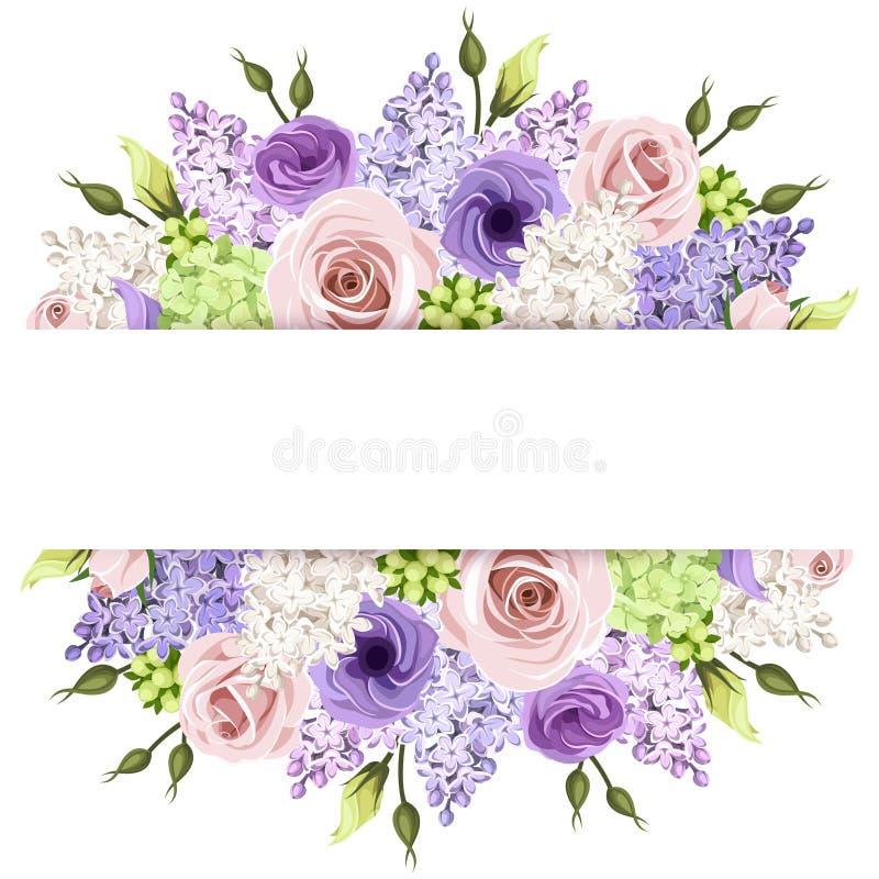 Fundo com as rosas cor-de-rosa, roxas e brancas e as flores lilás Vetor EPS-10 ilustração do vetor