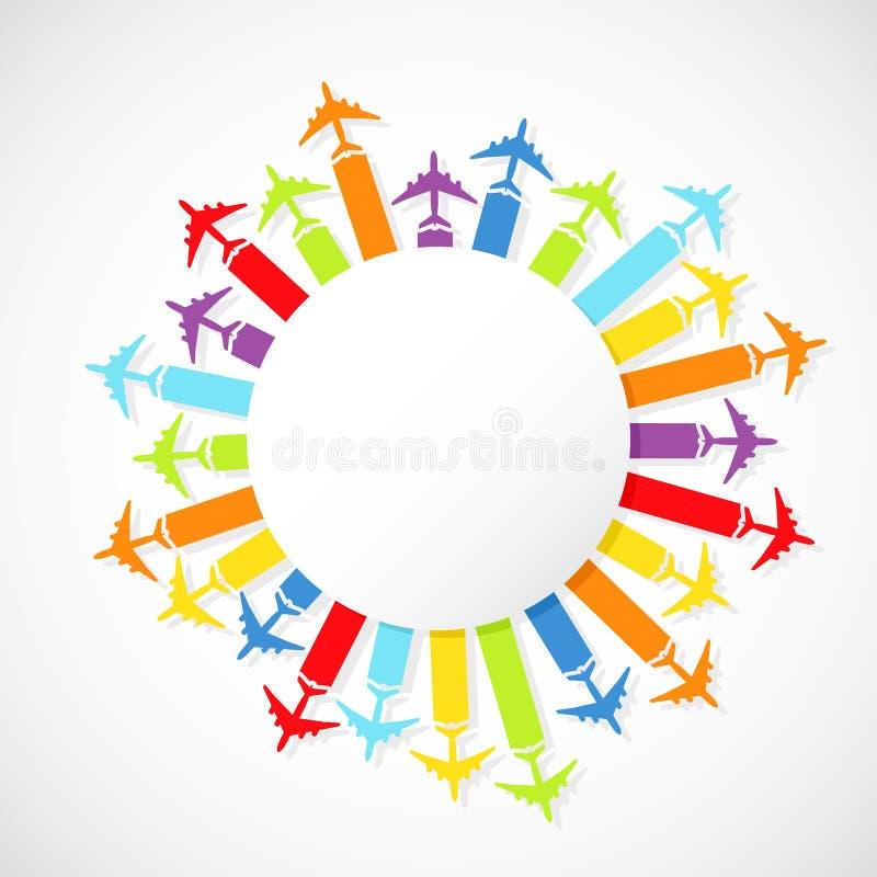 Fundo com aviões do arco-íris ilustração royalty free
