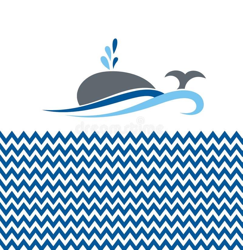 Fundo com baleia ilustração royalty free