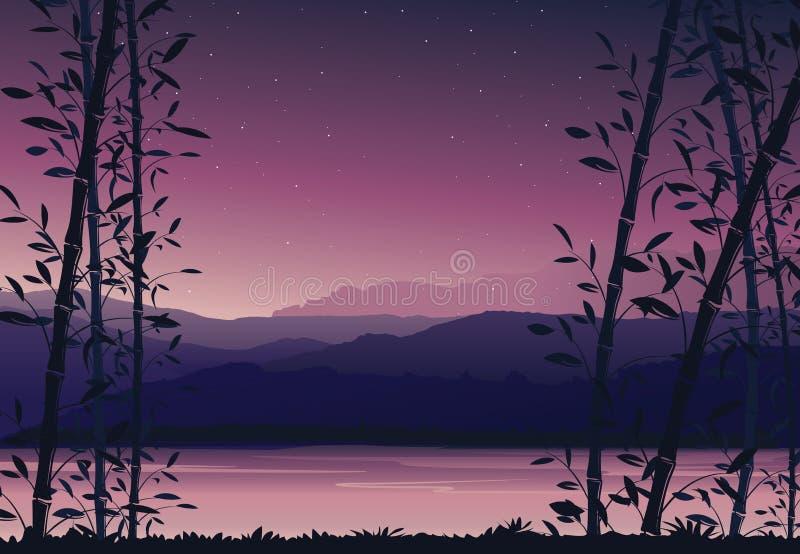 Fundo com bambu, por do sol colorido da natureza, papel de parede da paisagem do cenário ilustração stock